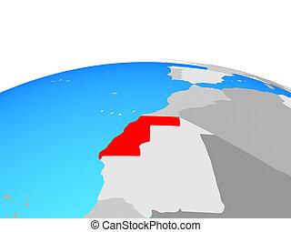 Map of Western Sahara on globe