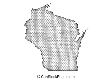 Map of Wisconsin on old linen