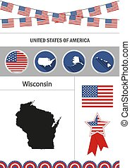 Map of Wisconsin. Set of flat design icons nfographics elements
