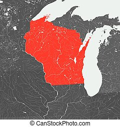 Map of Wisconsin with lakes and rivers.