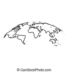 Map of world 3d effect surface icon black color illustration flat style simple image