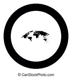 Map of world 3d effect surface icon black color in round circle