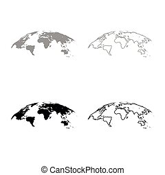 Map of world 3d effect surface icon outline set grey black color