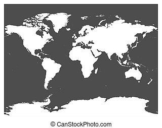 High detailed outline of world map simple thin black vector map of world black vector silhouette white high detailed map on dark grey background gumiabroncs Images