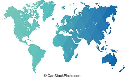 Map of World. Blue low poly gradient of rhombus shapes. Modern vector polygonal design