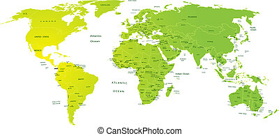 World map with names of continents typo map continents asia map of world gumiabroncs Gallery
