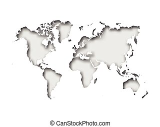 Vector paper cut world map with bent corners on grey background with vector paper cut world map with bent corners on grey background with red labels gumiabroncs Gallery