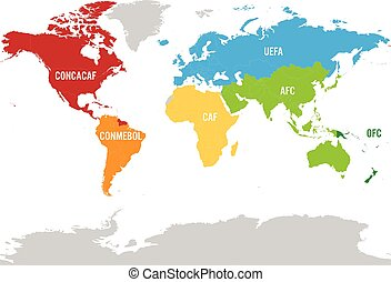 Map of world football, or soccer, confederations - CONMEBOL,...