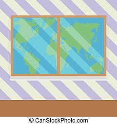 Map of world from window vector