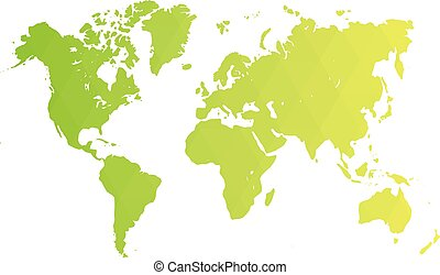 Map of World. Green low poly gradient of rhombus shapes. Modern vector polygonal design