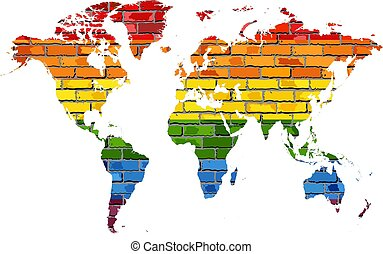 Map of World in colors of pride