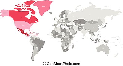 Map of World in grey colors with red highlighted countries of North America. Vector illustration