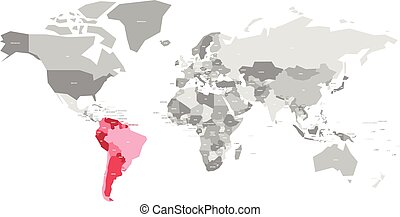Map Of World In Grey Colors With Red Highlighted Countries Of Africa