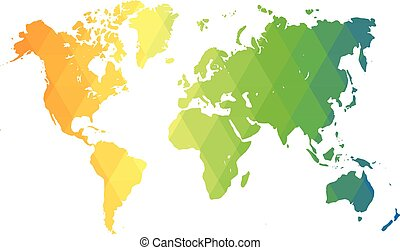 Map of World. Multicolor low poly gradient of rhombus shapes. Modern vector polygonal design