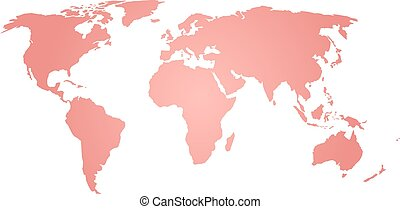 Map of World. Pink silhouette vector illustration with gradient on white background