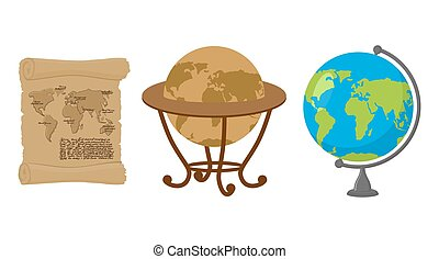 Map of world. Set of map Earth. Ancient scroll with drawing of continents and oceans. Antique Globes. Geographic globe of Earth.
