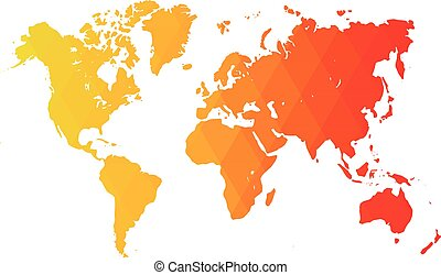 Map of World. Warm low poly gradient of rhombus shapes. Modern vector polygonal design