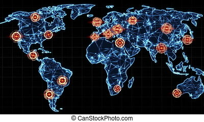 map of world with marked points seamless loop animation