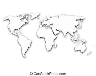 Map of world with shadow on white background