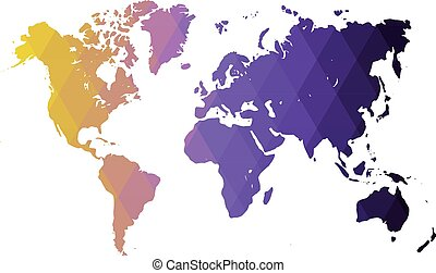 Map of World. Yellow-violet low poly gradient of rhombus shapes. Modern vector polygonal design