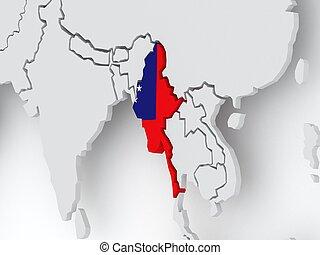 Map of worlds. Myanmar (Burma).