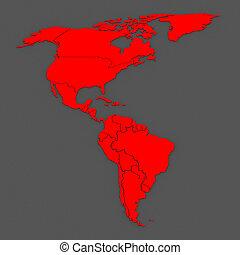 Map of worlds. North and South America.