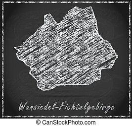 Map of Wunsiedel-im-Fichtelgebirge as chalkboard in Black ...