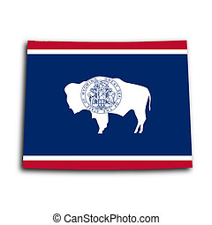 Map of Wyoming, filled with the state flag