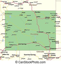 Map of Wyoming. Shows state borders, urban areas, place names, roads and highways. Projection: Mercator.