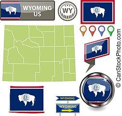 Map of Wyoming, US