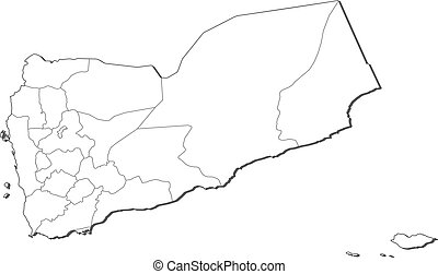 Political map of Yemen with the several governorates.