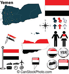 Vector of Yemen set with detailed country shape with region borders, flags and icons