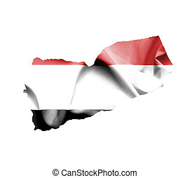 Map of Yemen with waving flag isolated on white