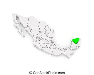 Map of Yucatan. Mexico.