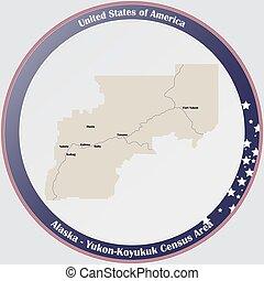 Map of Yukon-Koyukuk Census Area in Alaska
