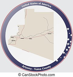 Map of Yuma County in Arizona