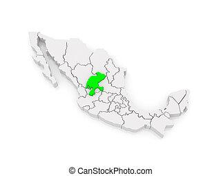 Map of Zacatecas. Mexico.