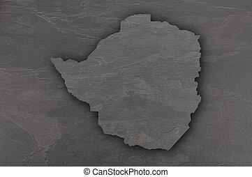 Map of Zimbabwe on dark slate