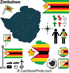 Map of Zimbabwe - Vector of Zimbabwe set with detailed ...