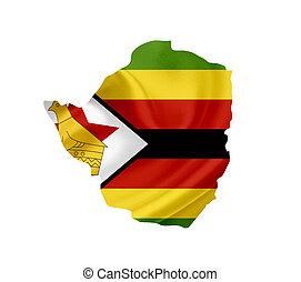 Map of Zimbabwe with waving flag isolated on white