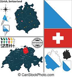 Map of Zurich, Switzerland - Vector map of state Zurich with...