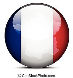 Map on flag button of French Republic, France