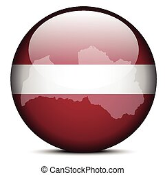 Map on flag button of Latvia