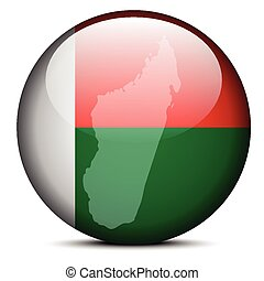 Map on flag button of Madagascar