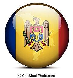 Map on flag button of Republic Moldova