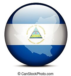 Map on flag button of Republic Nicaragua - Vector Image - ...