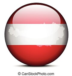 Map on flag button of Republic of Austria