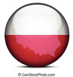 Map on flag button of Republic Poland