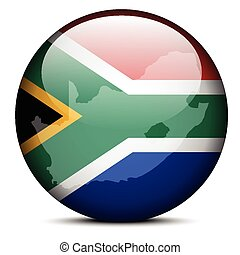 Map on flag button of Republic South Africa