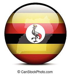 Map on flag button of Republic Uganda